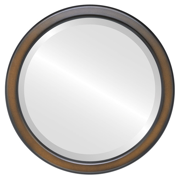 Beveled Mirror - Toronto Round Frame - Walnut