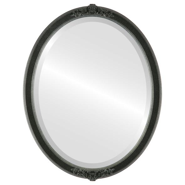 Beveled Mirror - Athena Oval Frame - Black Silver