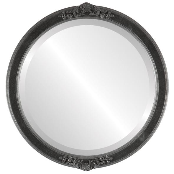 Beveled Mirror - Athena Round Frame - Black Silver