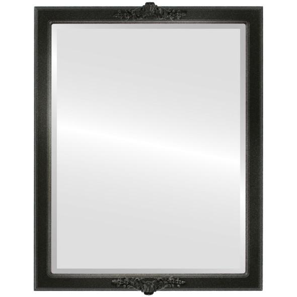 Beveled Mirror - Athena Rectangle Frame - Black Silver