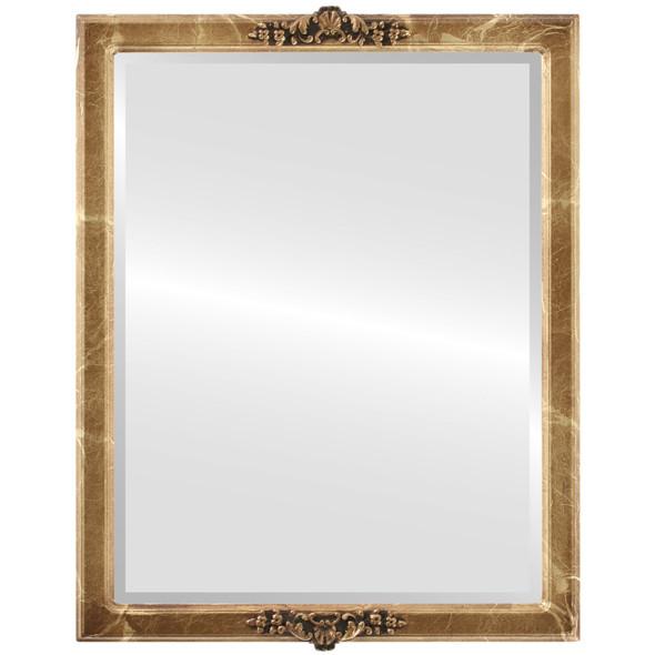 Beveled Mirror - Athena Rectangle Frame - Champagne Gold