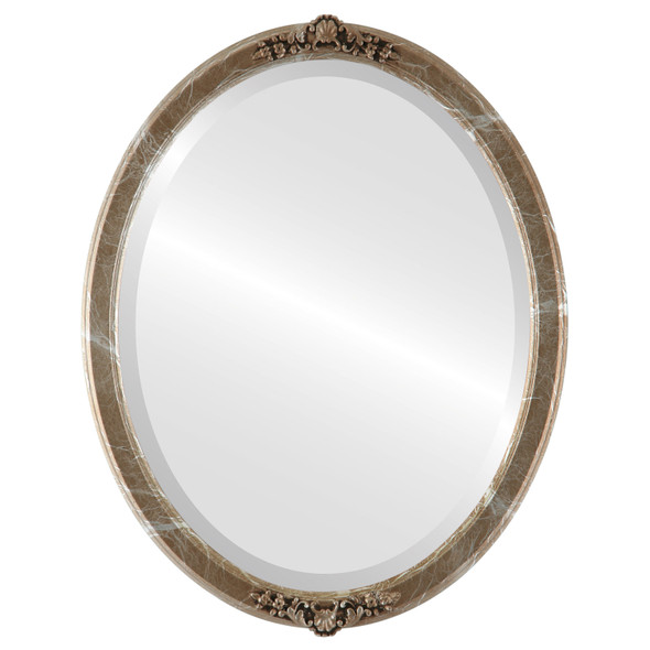 Beveled Mirror - Athena Oval Frame - Champagne Silver