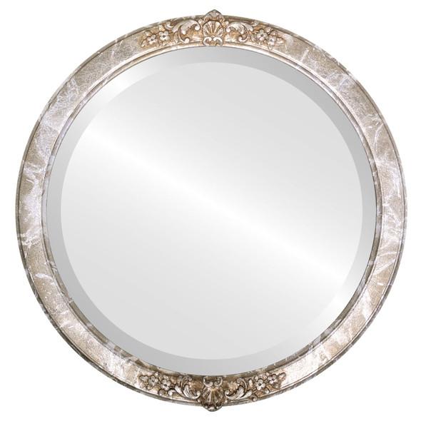 Beveled Mirror - Athena Round Frame - Champagne Silver