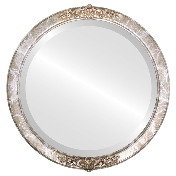 Beveled Mirror - Athena Round Frame - Champagne Silver