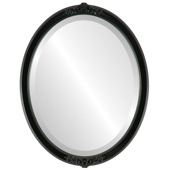 Beveled Mirror - Athena Oval Frame - Gloss Black