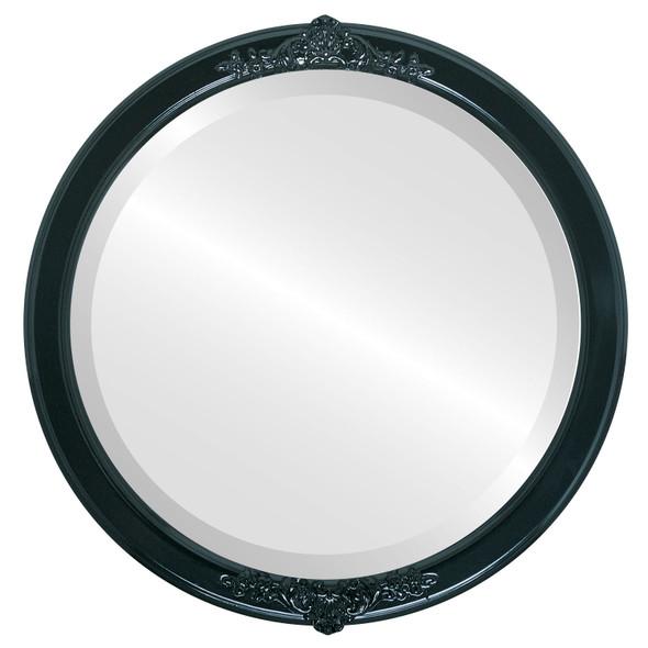 Beveled Mirror - Athena Round Frame - Gloss Black