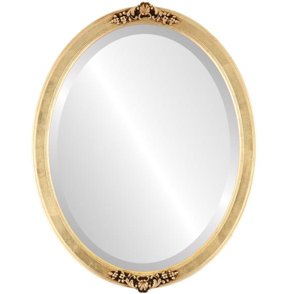 Beveled Mirror - Athena Oval Frame - Gold Leaf