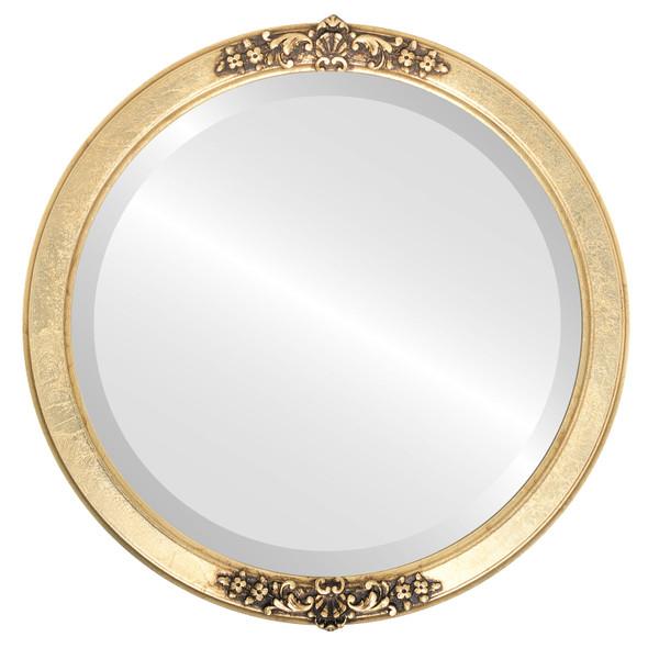 Beveled Mirror - Athena Round Frame - Gold Leaf