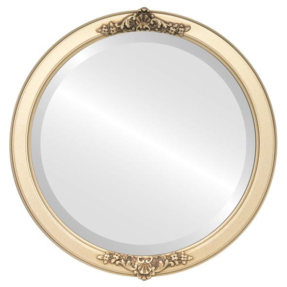 Beveled Mirror - Athena Round Frame - Gold Spray
