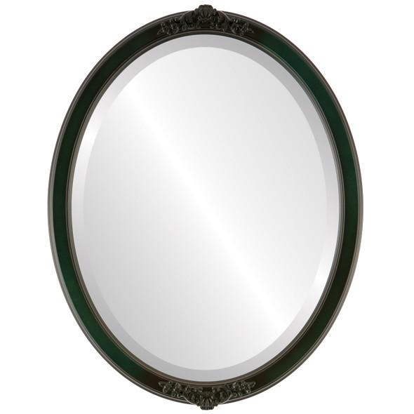 Beveled Mirror - Athena Oval Frame - Hunter Green