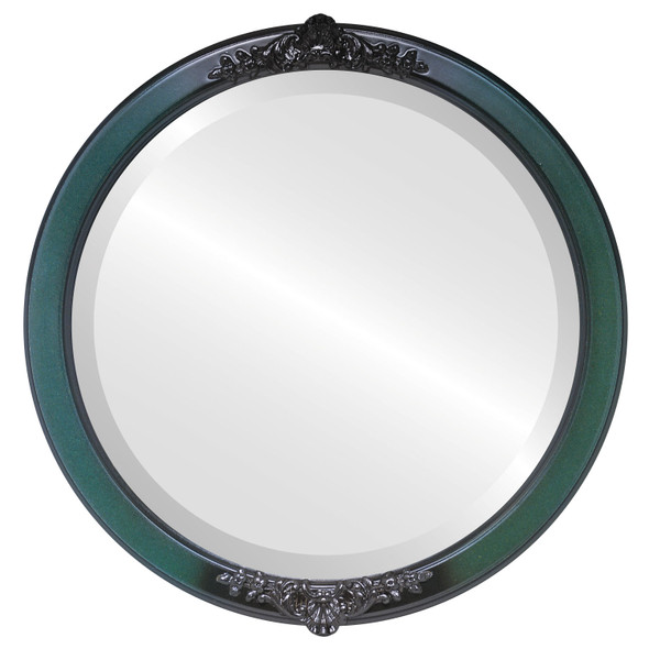 Beveled Mirror - Athena Round Frame - Hunter Green