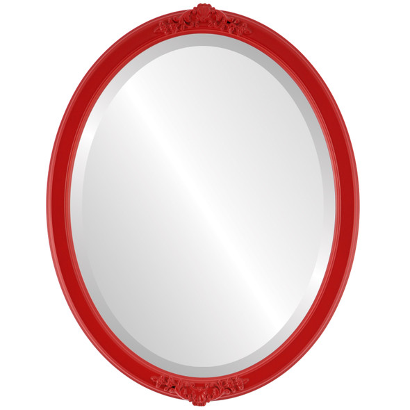 Beveled Mirror - Athena Oval Frame - Holiday Red