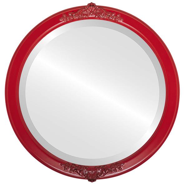 Beveled Mirror - Athena Round Frame - Holiday Red