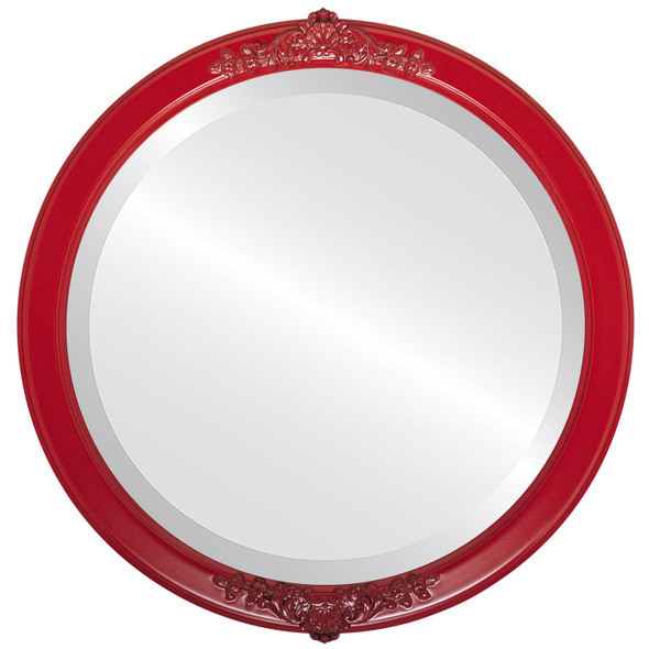 Beveled Mirror - Athena Round Frame - Holiday Red
