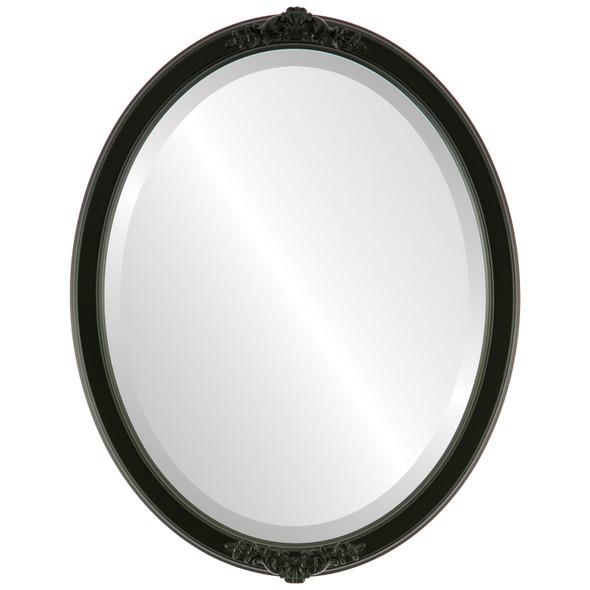 Beveled Mirror - Athena Oval Frame - Matte Black