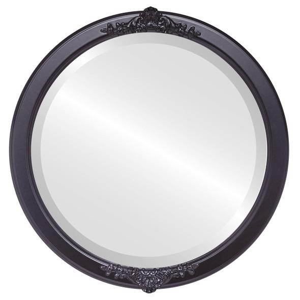 Beveled Mirror - Athena Round Frame - Matte Black