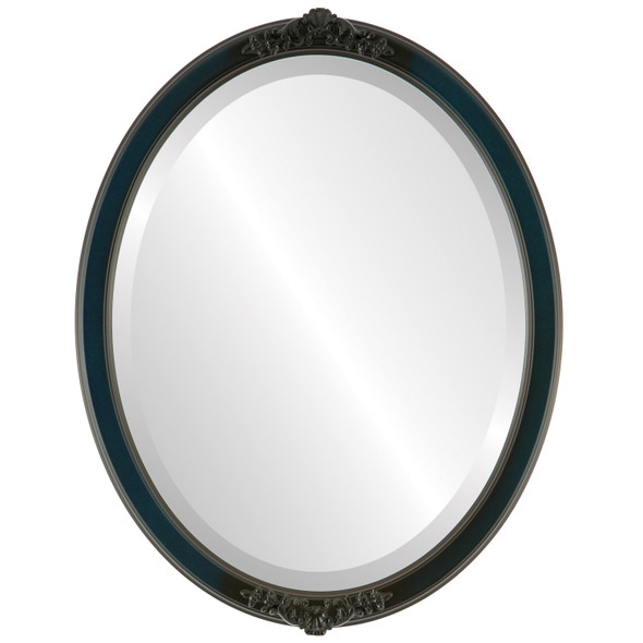 Beveled Mirror - Athena Oval Frame - Royal Blue
