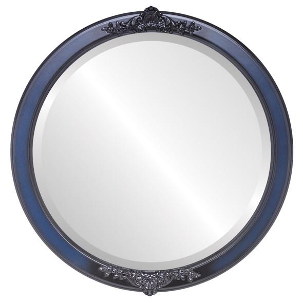 Beveled Mirror - Athena Round Frame - Royal Blue