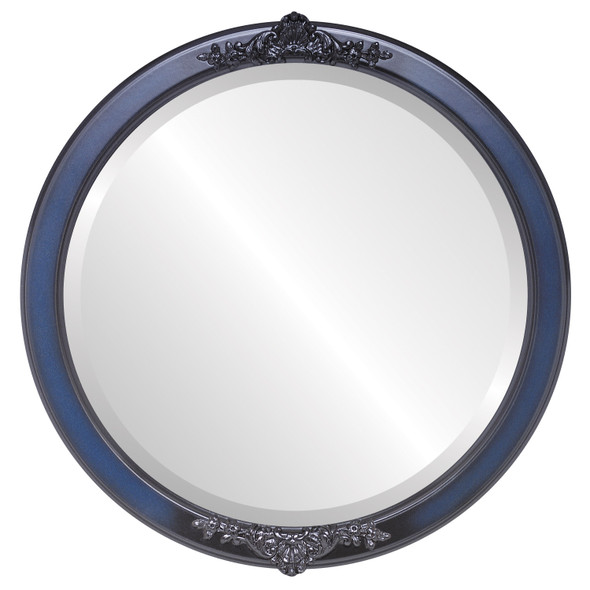 Beveled Mirror - Athena Round Frame - Royal Blue