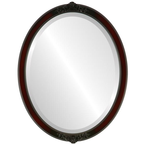 Beveled Mirror - Athena Oval Frame - Rosewood