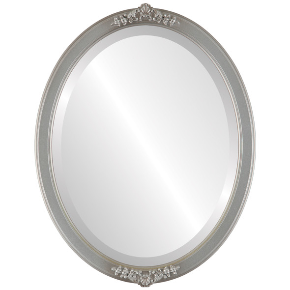 Beveled Mirror - Athena Oval Frame - Silver Shade