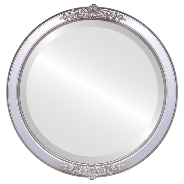 Beveled Mirror - Athena Round Frame - Silver Shade