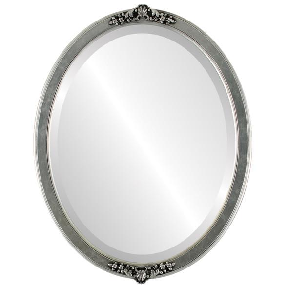 Beveled Mirror - Athena Oval Frame - Silver Leaf with Black Antique