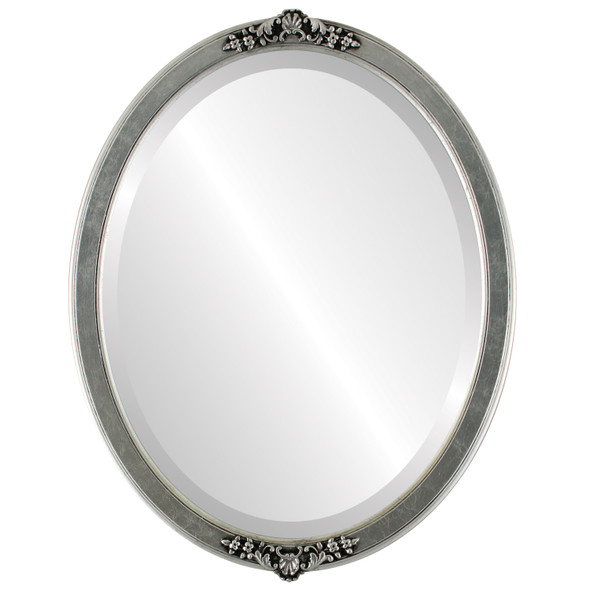 Beveled Mirror - Athena Oval Frame - Silver Leaf with Black Antique