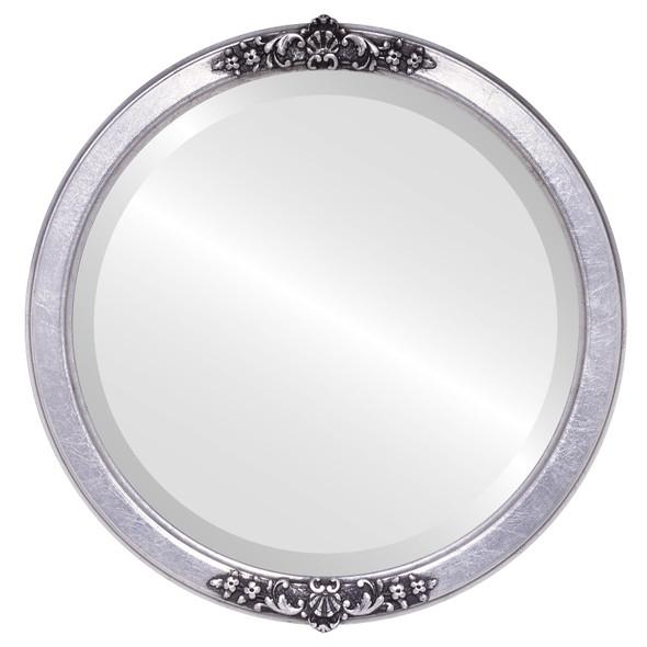 Beveled Mirror - Athena Round Frame - Silver Leaf with Black Antique