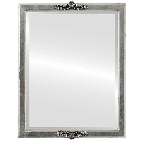 Beveled Mirror - Athena Rectangle Frame - Silver Leaf with Black Antique