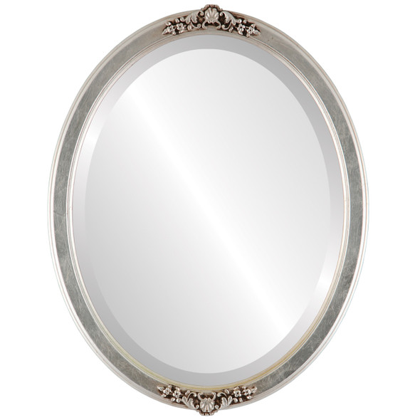 Beveled Mirror - Athena Oval Frame - Silver Leaf with Brown Antique