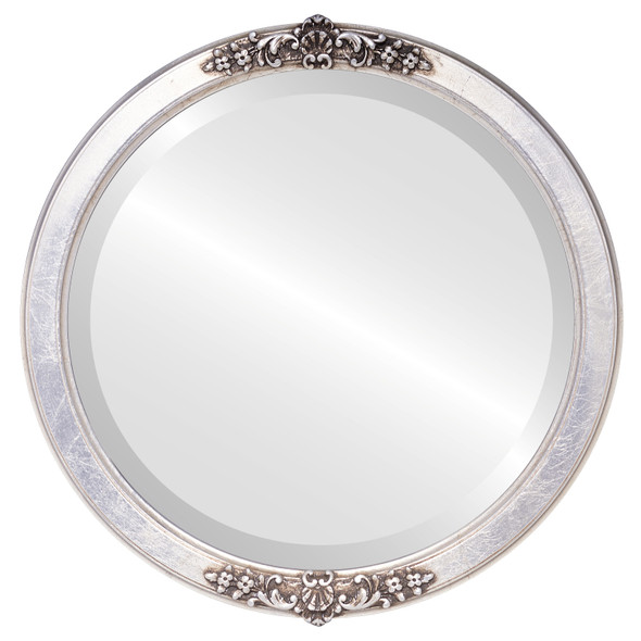 Beveled Mirror - Athena Round Frame - Silver Leaf with Brown Antique