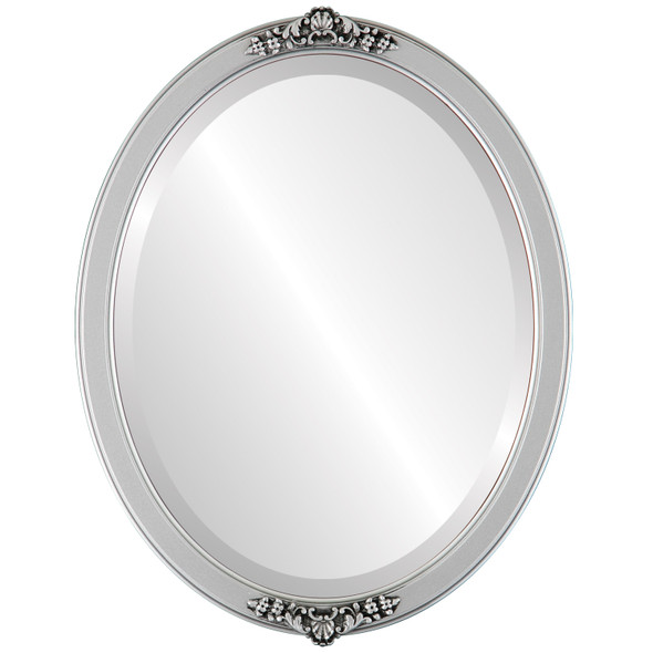 Beveled Mirror - Athena Oval Frame - Silver Spray