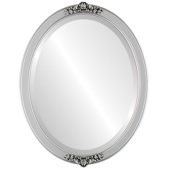 Beveled Mirror - Athena Oval Frame - Silver Spray