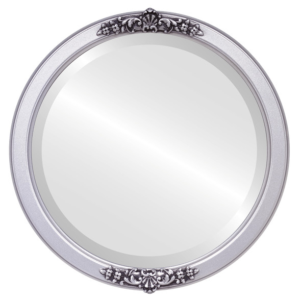 Beveled Mirror - Athena Round Frame - Silver Spray