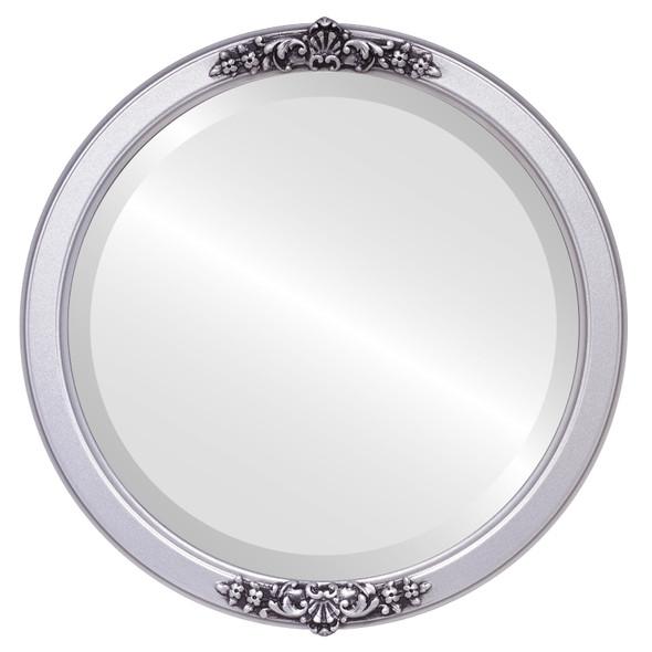 Beveled Mirror - Athena Round Frame - Silver Spray