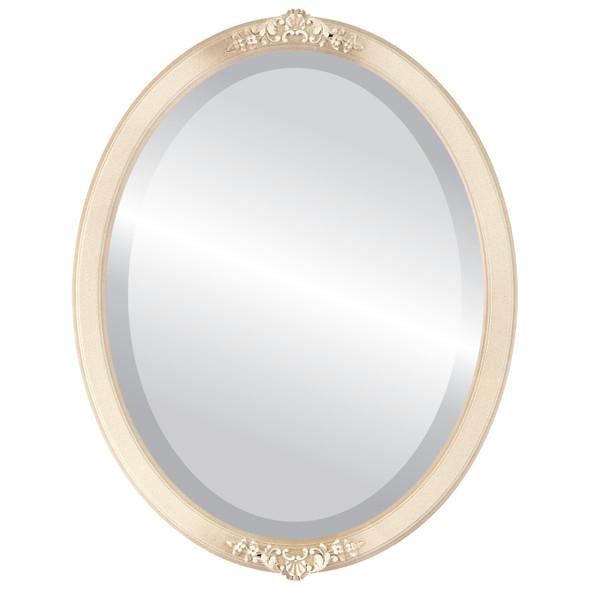 Beveled Mirror - Athena Oval Frame - Taupe