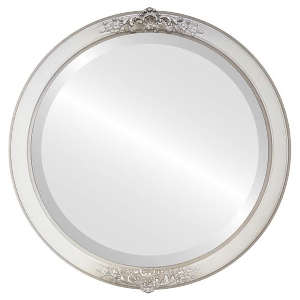 Beveled Mirror - Athena Round Frame - Taupe