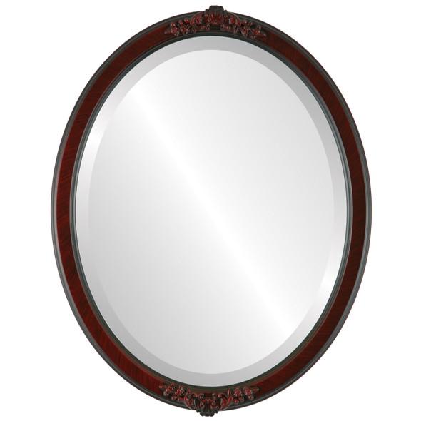 Beveled Mirror - Athena Oval Frame - Vintage Cherry