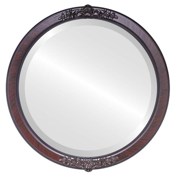 Beveled Mirror - Athena Round Frame - Vintage Cherry