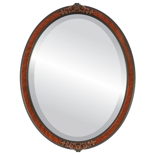 Beveled Mirror - Athena Oval Frame - Vintage Walnut