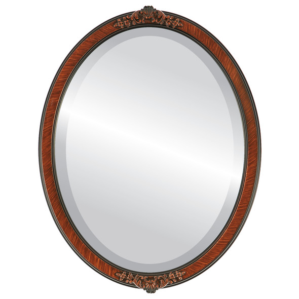 Beveled Mirror - Athena Oval Frame - Vintage Walnut