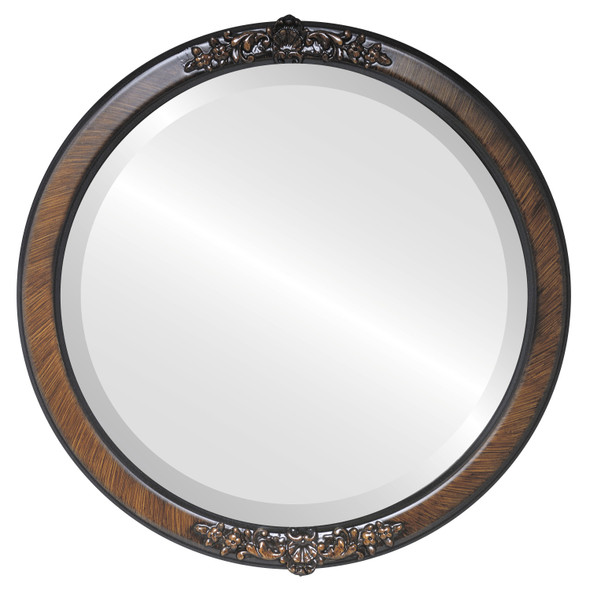 Beveled Mirror - Athena Round Frame - Vintage Walnut