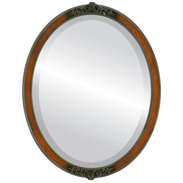 Beveled Mirror - Athena Oval Frame - Walnut
