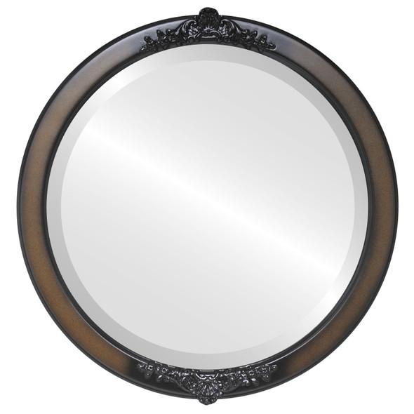Beveled Mirror - Athena Round Frame - Walnut