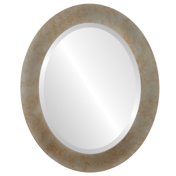Beveled Mirror - Soho Oval Frame - Burnished Silver