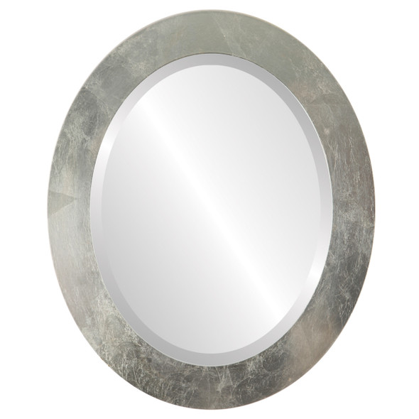 Beveled Mirror - Soho Oval Frame - Silver Leaf with Brown Antique