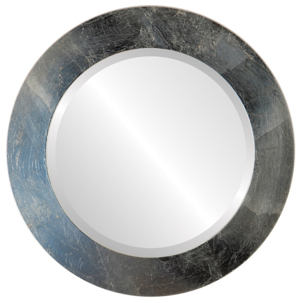 Beveled Mirror - Soho Round Frame - Silver Leaf with Brown Antique