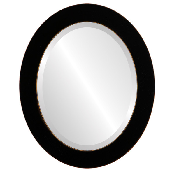 Beveled Mirror - Soho Oval Frame - Rubbed Black