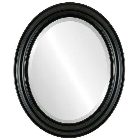 Beveled Mirror - Philadelphia Oval Frame - Gloss Black